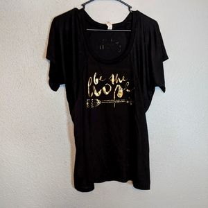 Black with Gold Be The Hope Graphic T-Shirt